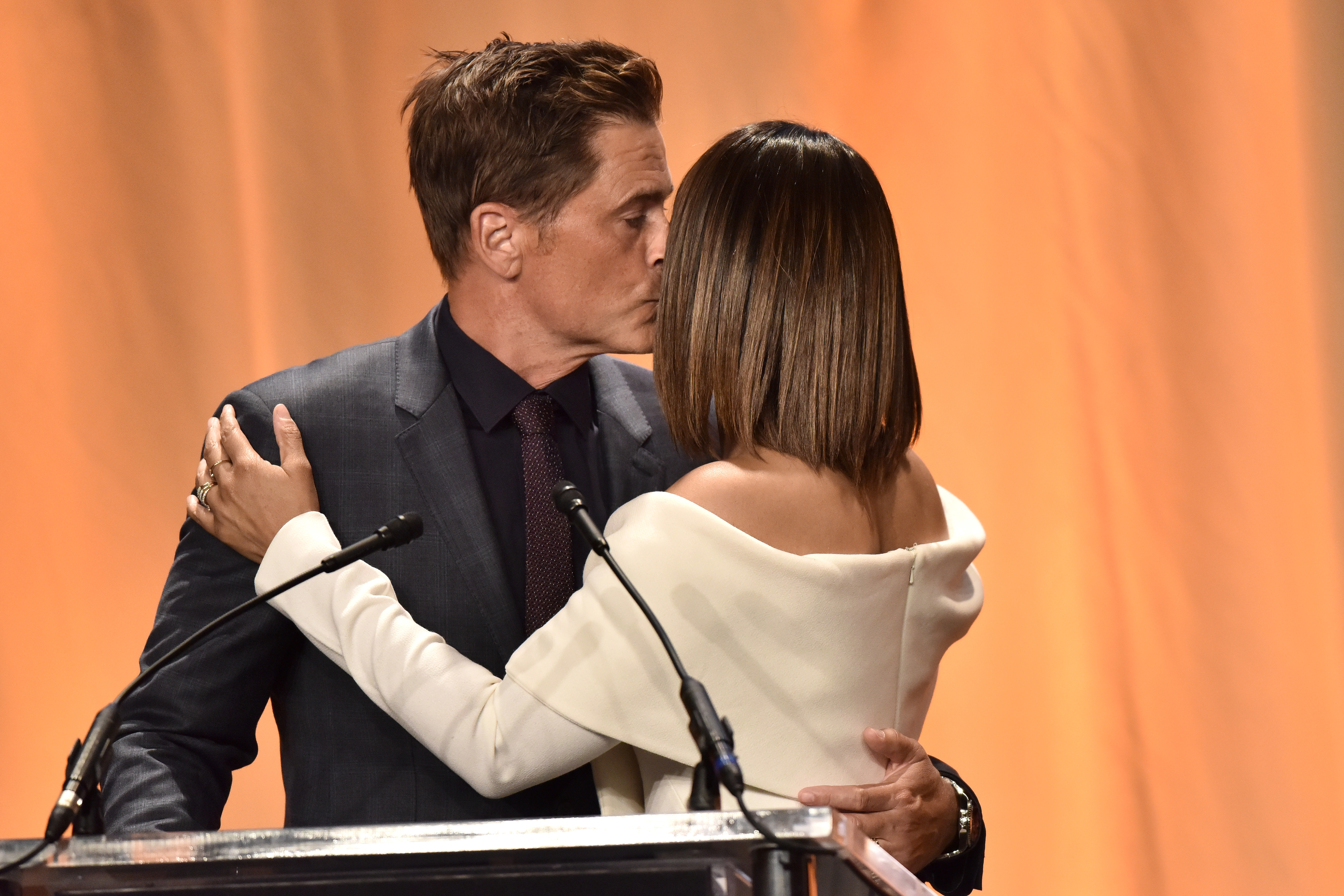 Rob Lowe and Regina Hall shared a friendly kiss while attending the Hollywood Foreign Press Association Annual Grants Banquet in Los Angeles, CA on July 31, 2019.
