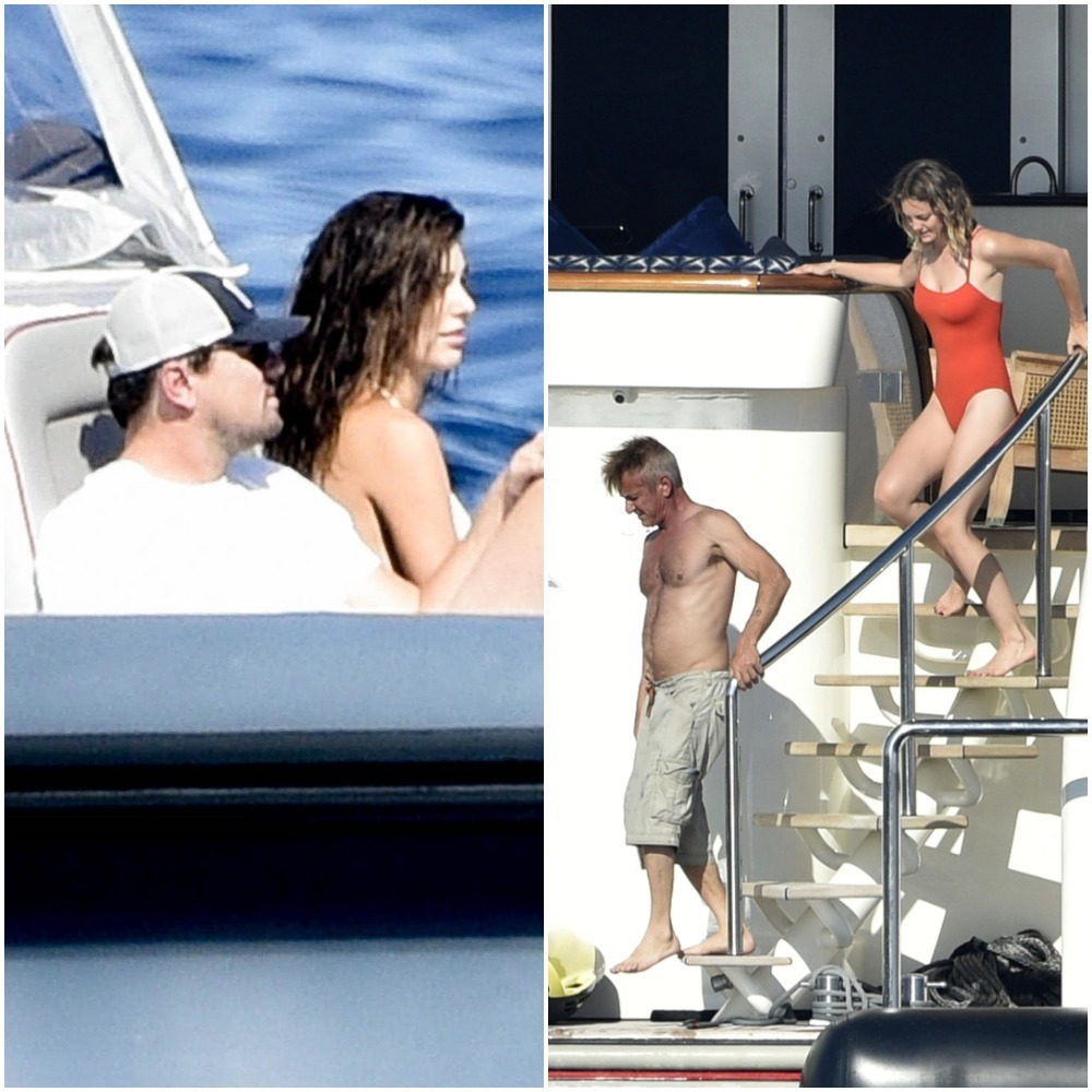Leonardo DiCaprio, Camila Morrone, Sean Penn and Leila George hang out on Sean's yacht in Italy on Aug. 10, 2019.