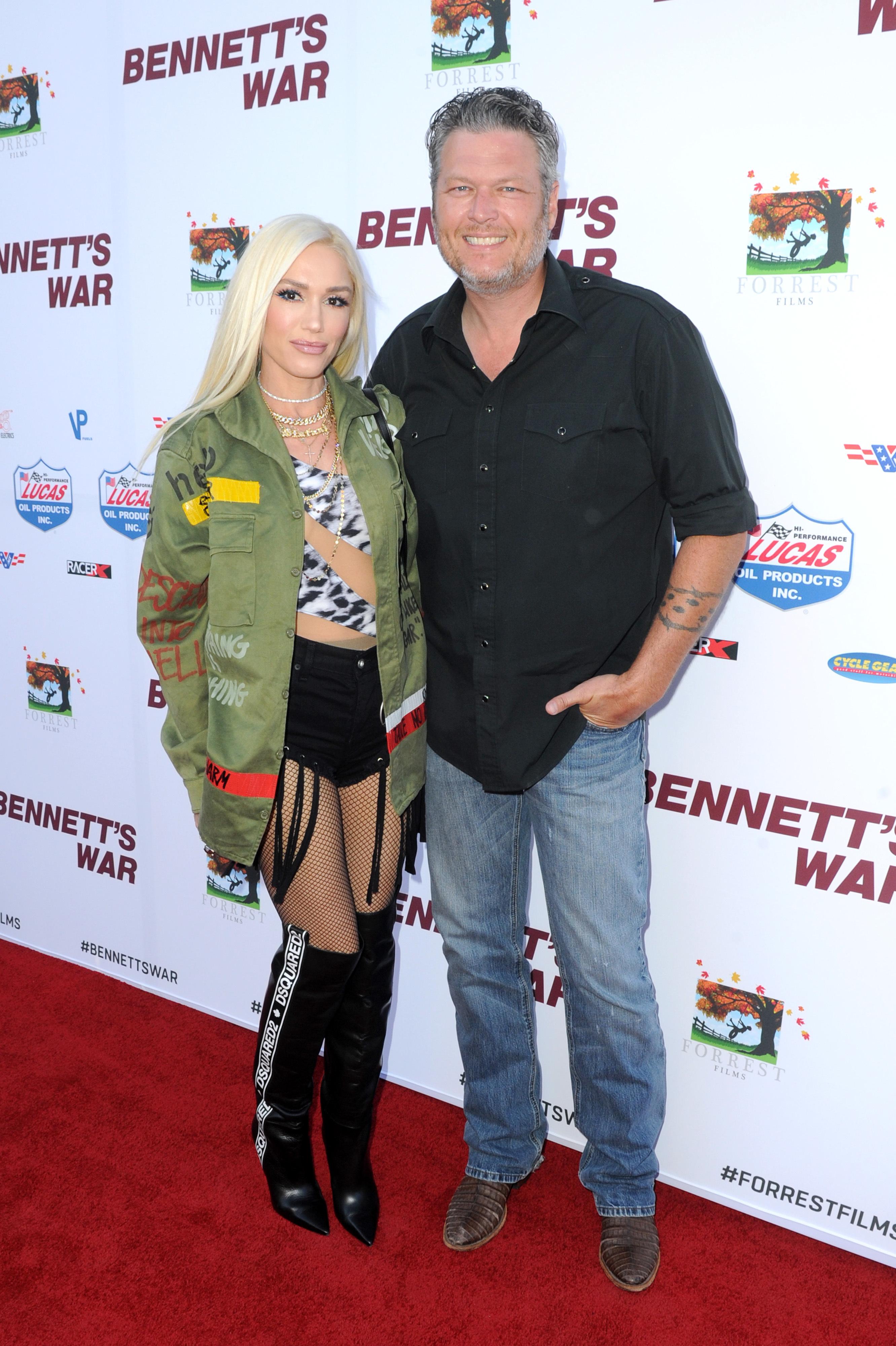 "Gwen Stefani and Blake Shelton arrive at the Los Angeles premiere of ""Bennett's War"" at Warner Bros. Studios in Burbank, California, on August 13, 2019."