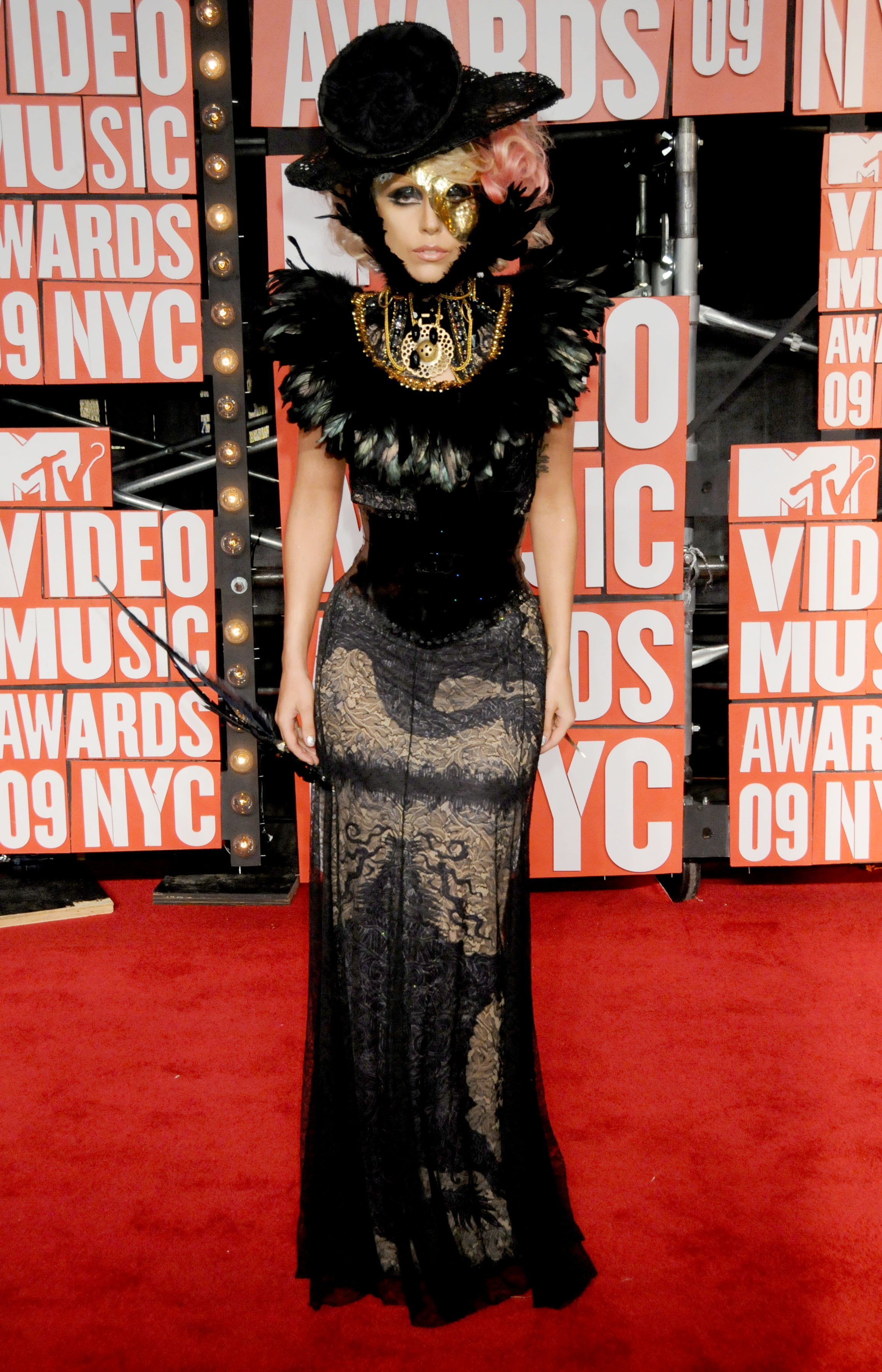 Lady Gaga arrives for the MTV Video Music Awards at Radio City Music Hall in New York City on Sept. 13, 2009.