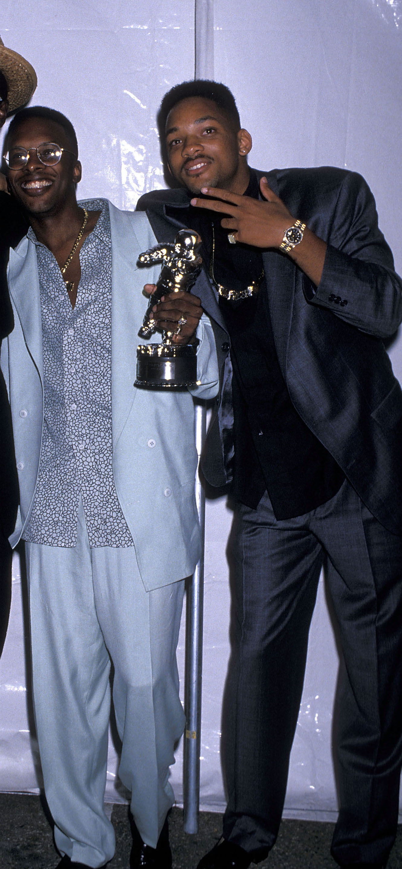 Hip hop producer DJ Jazzy Jeff and rapper Will Smith attend the Sixth Annual MTV Video Music Awards at Universal Amphitheatre in Universal City, California on Sept. 6, 1989.