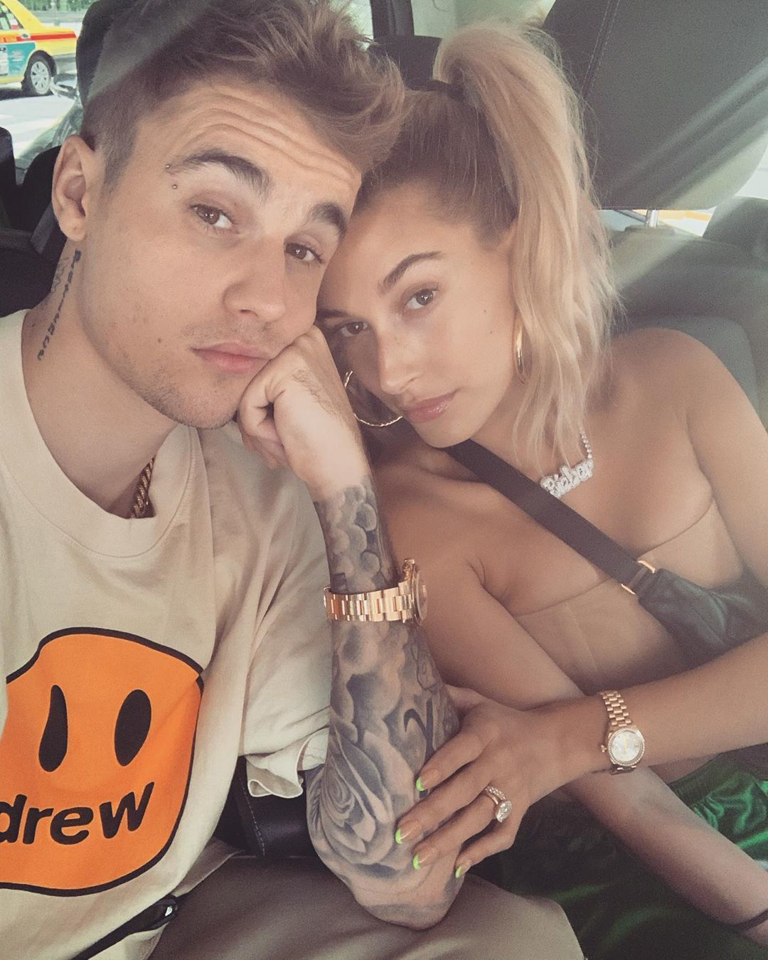 """""""Go best friend that's my best friend""""   Justin Bieber, who posted this selfie with wife Hailey Bieber on Instagram on July 31, 2019"""