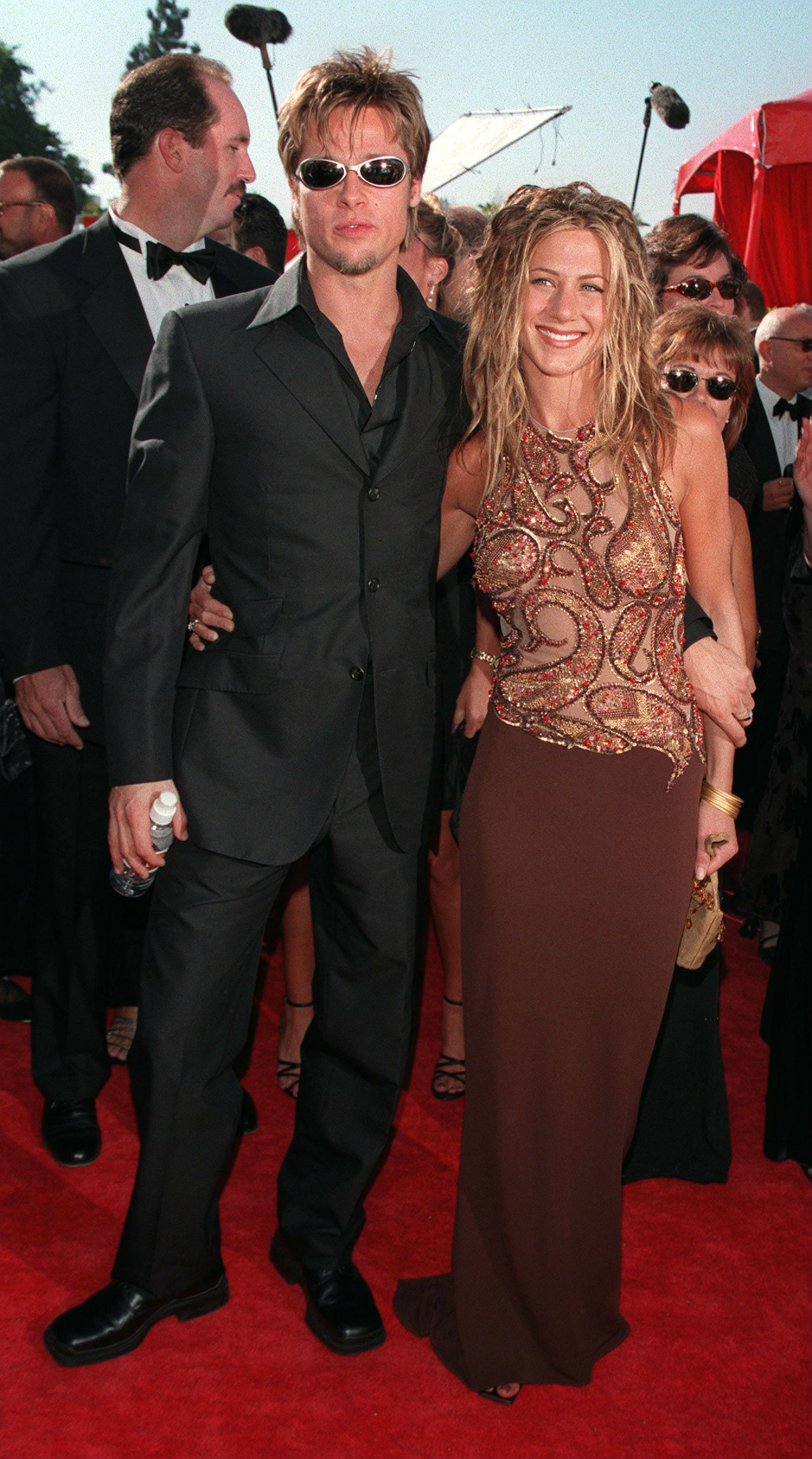 Brad Pitt and Jennifer Aniston attend the Emmy Awards at the Shrine Auditorium in Los Angeles, Calif., on on Sept. 12, 1999.