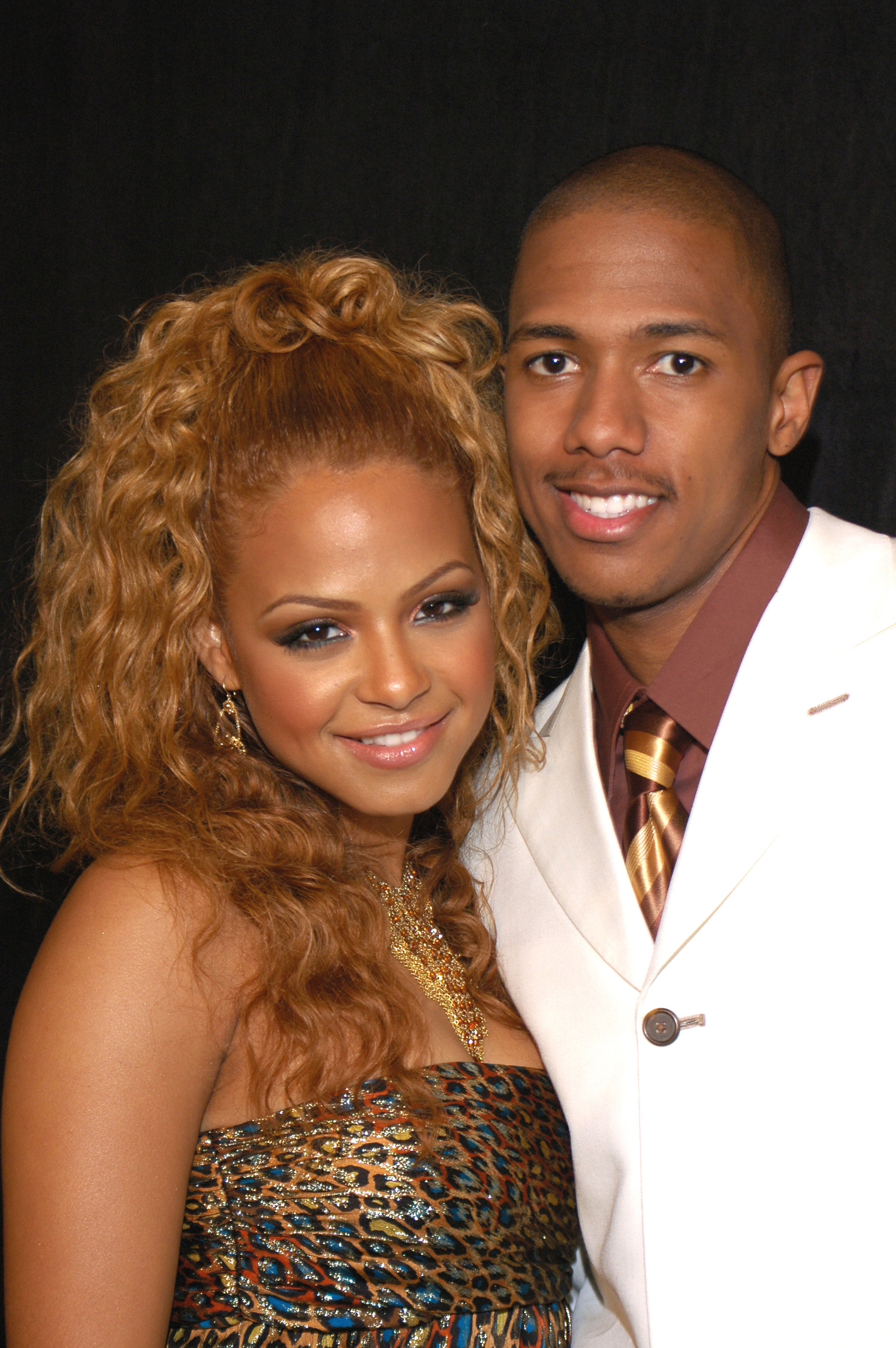 Christina Milian and Nick Cannon attend the 19th Annual Soul Train Awards at Paramount Studios in Hollywood on Feb. 28, 2005.