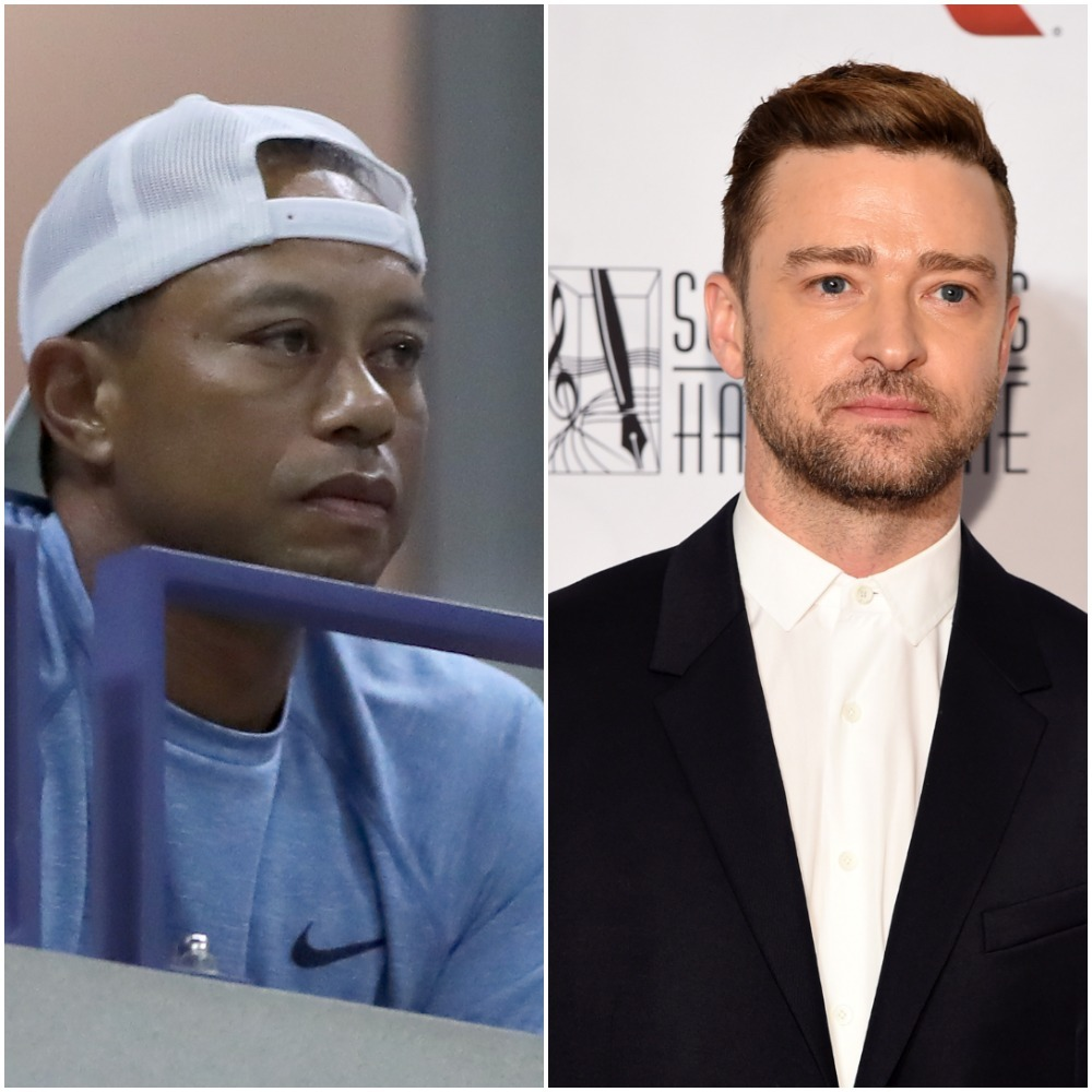 Tiger Woods and Justin Timberlake appear in a composite photo from 2019.
