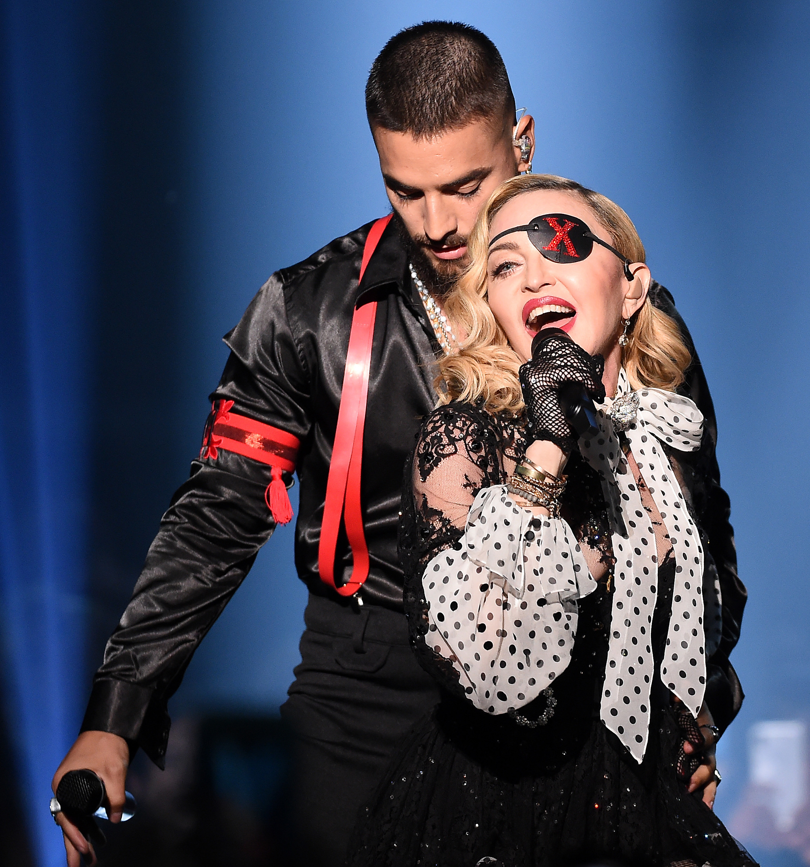 Madonna and Maluma perform at the Billboard Music Awards at the MGM Grand Garden Arena in Las Vegas on May 1, 2019.