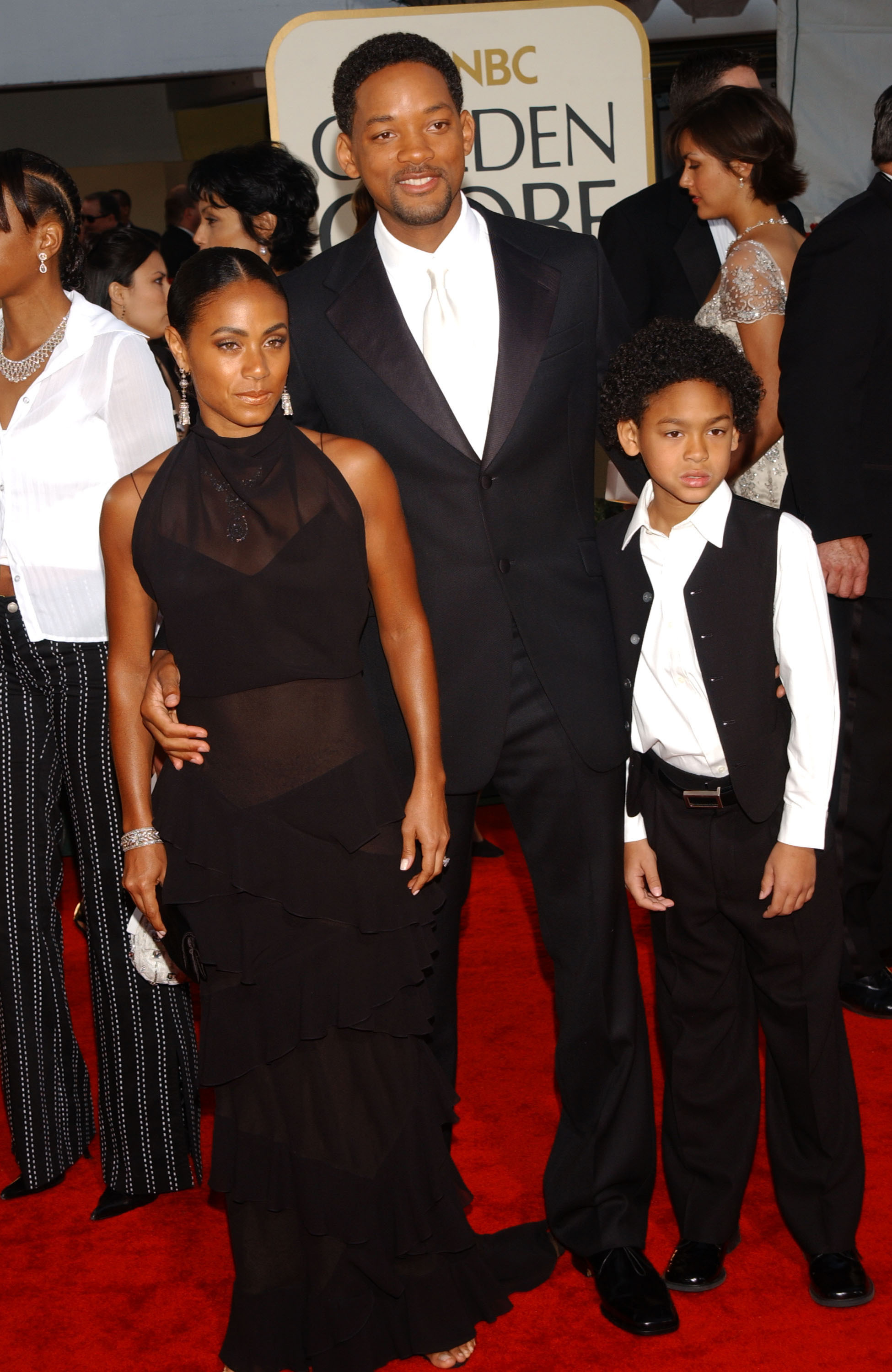 Jada Pinkett Smith, Will Smith and son Trey Smith arrive for the Golden Globe Awards at the Beverly Hilton Hotel in Beverly Hills on Jan. 20, 2002.