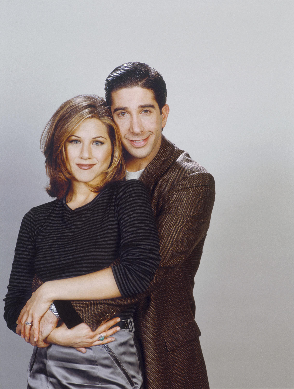 """Jennifer Aniston as Rachel Green, David Schwimmer as Ross Geller on """"Friends."""""""